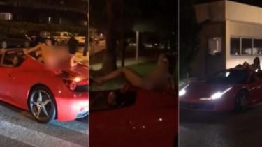 Wanita Bugil di atap Ferrari
