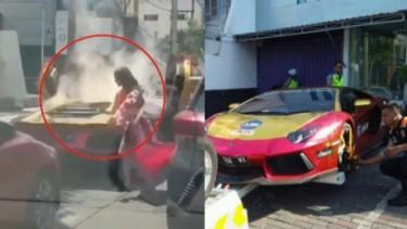 Lamborghini yang terbakar di Surabaya.