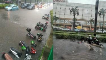 Motor Tenggelam Banjir di Senayan